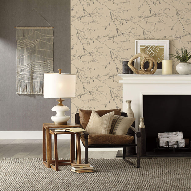 NR1528 Norlander Winter Branches Wallpaper Beige