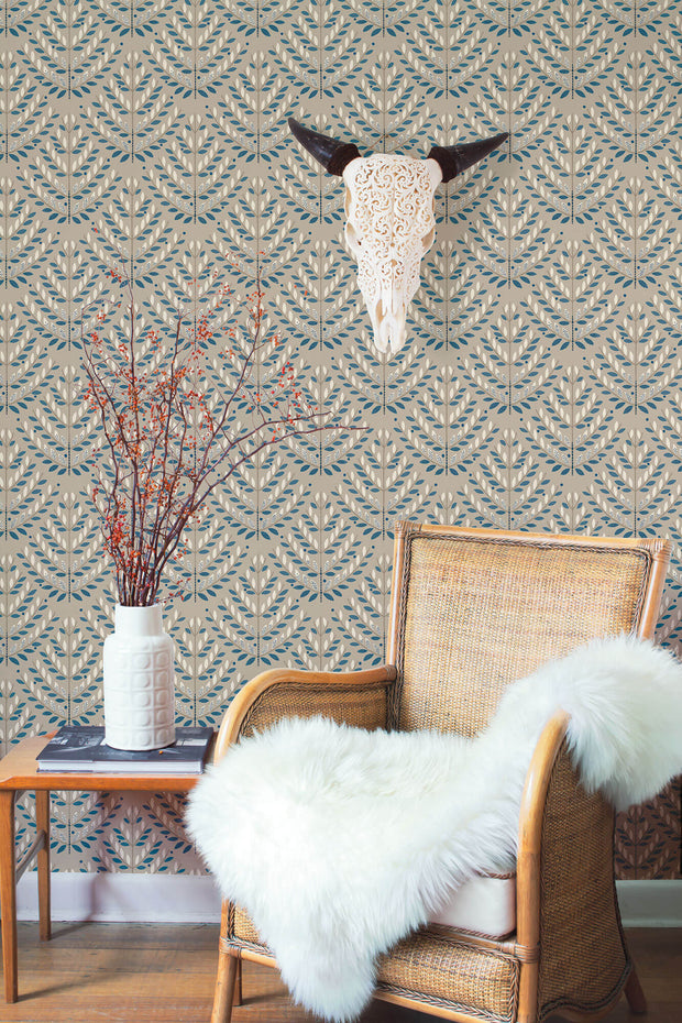 NR1593 Norlander Norrland Wallpaper York Teal Sand