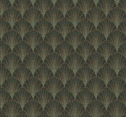 Modern Heritage Scalloped Pearls Wallpaper - Black & Gold