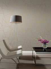Nazca Wallpaper - Almond, Pearl, Gold