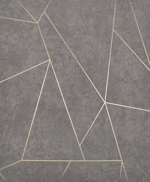 NW3502 Antonina Vella Modern Metals Nazca Wallpaper Dark Grey Gold