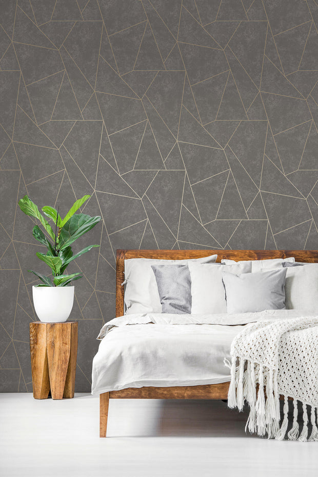 Antonina Vella Nazca Wallpaper - Dark Grey & Gold