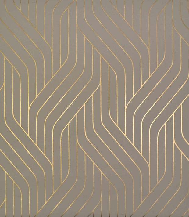 NW3518 Antonina Vella Modern Metals Ebb And Flow Wallpaper Khaki Gold
