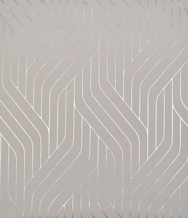 NW3519 Antonina Vella Modern Metals Ebb And Flow Wallpaper Grey Silver