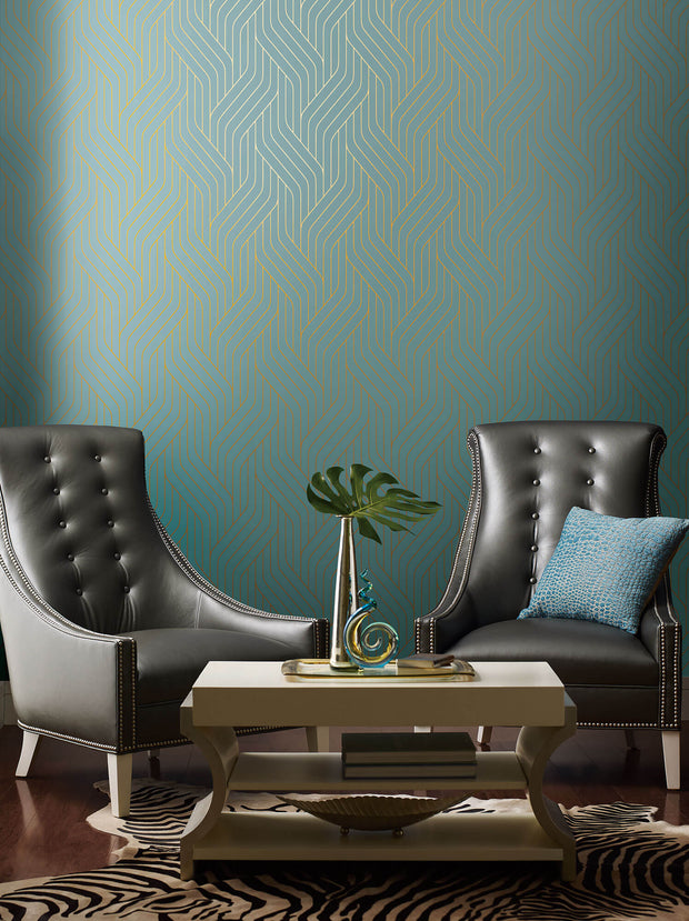 NW3520 Antonina Vella Modern Metals Ebb And Flow Wallpaper Blue Gold