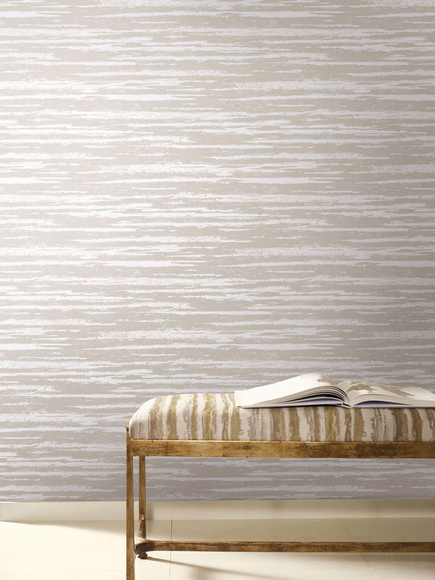 Antonina Vella Atmosphere Wallpaper - Beige/Silver