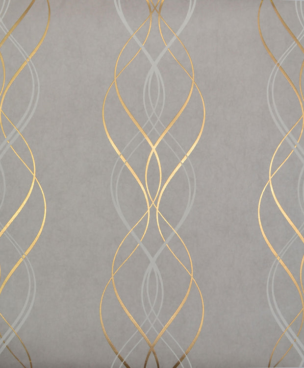 NW3550 Antonina Vella Modern Metals Aurora Wallpaper Grey Gold