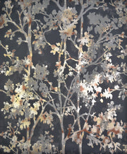 NW3580 Modern Metals Shimmering Foliage Wallpaper Black
