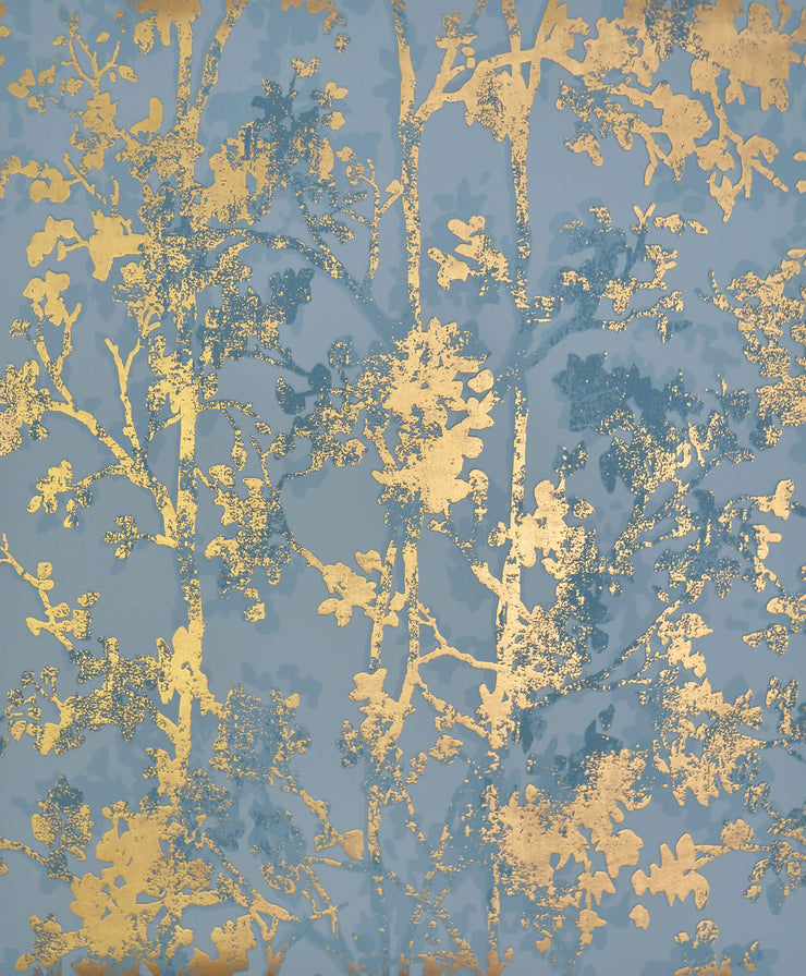 NW3581 Modern Metals Shimmering Foliage Wallpaper Blue Gold
