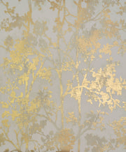 NW3582 Modern Metals Shimmering Foliage Wallpaper Almond Gold