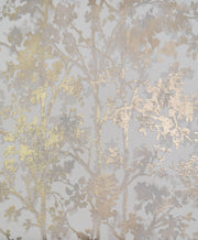 NW3583 Modern Metals Shimmering Foliage Wallpaper White Gold
