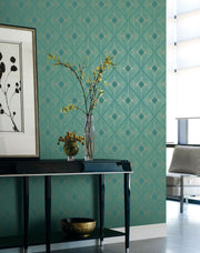NW3589 Antonina Vella Modern Metals Harlowe Wallpaper Teal Gold