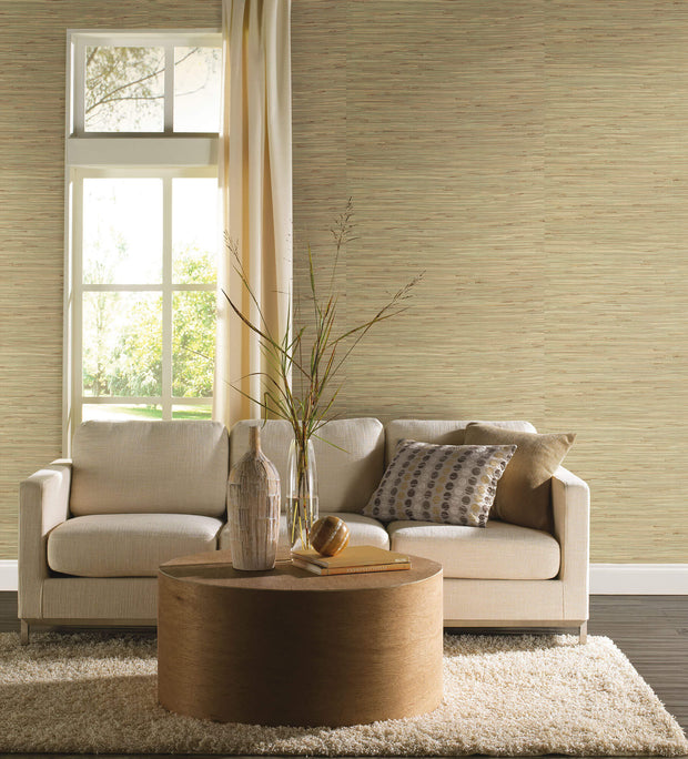 Grasscloth Resource Library River Grass Wallpaper - Green/Tan