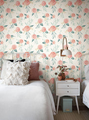 Magnolia Home Watercolor Roses Peel & Stick Wallpaper - Red