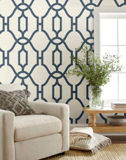 Magnolia Home Woven Trellis Peel & Stick Wallpaper - Blue