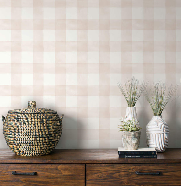 Magnolia Home Watercolor Check Wallpaper - Pink & White