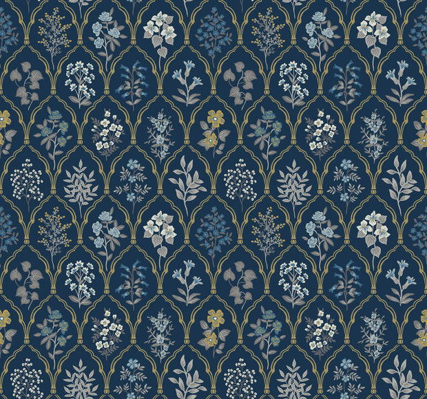 Rifle Paper Co. Hawthorne Wallpaper - Navy & Gold