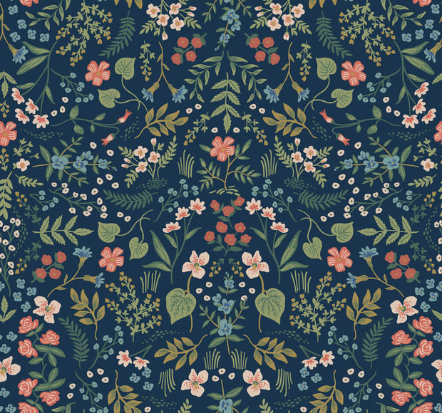 Rifle Paper Co. Wildwood Wallpaper - Navy Blue