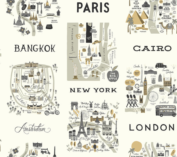 Rifle Paper Co. City Maps Wallpaper - Gray & Gold