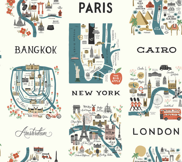 Rifle Paper Co. City Maps Wallpaper - Blue & Red