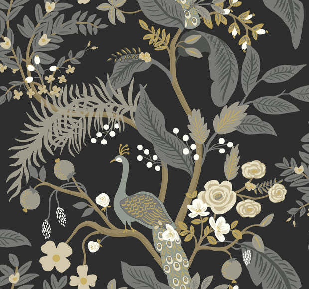 Rifle Paper Co. Peacock Wallpaper - Black