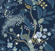 Rifle Paper Co. Peacock Wallpaper - Navy Blue
