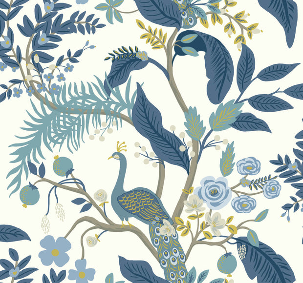 Rifle Paper Co. Peacock Wallpaper - Blue & White