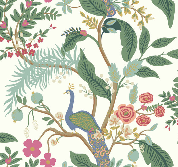 Rifle Paper Co. Peacock Wallpaper - Periwinkle