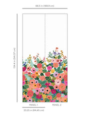 Rifle Paper Co. Garden Party Wallpaper Mural - Cream & Bright Pink