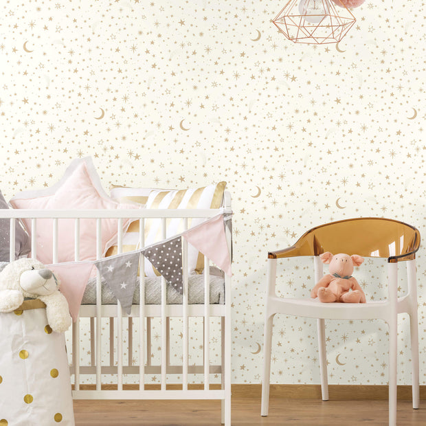 Twinkle Little Star Gold Peel and Stick Wallpaper