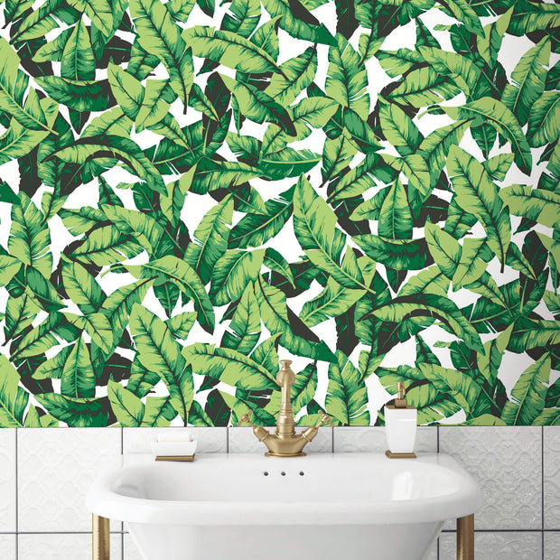 Palm Leaves Peel and Stick Wallpaper - Green