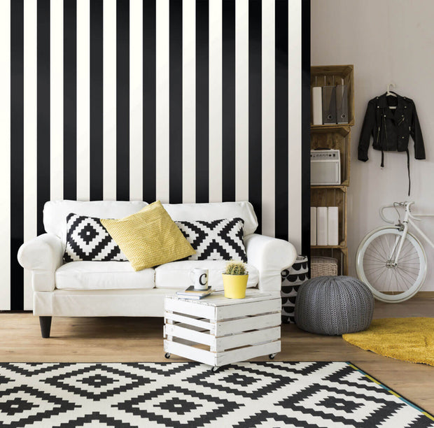 Awning Stripe Peel and Stick Wallpaper - Black & White