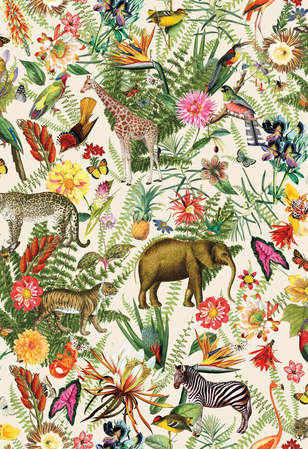 Tropical Zoo Peel and Stick Wallpaper - SAMPLE ONLY