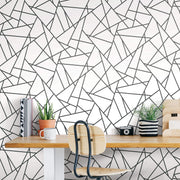 Fracture Geometric Peel and Stick Wallpaper - Black