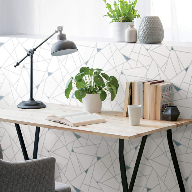Fracture Geometric Peel And Stick Wallpaper Teal Us Wall Decor