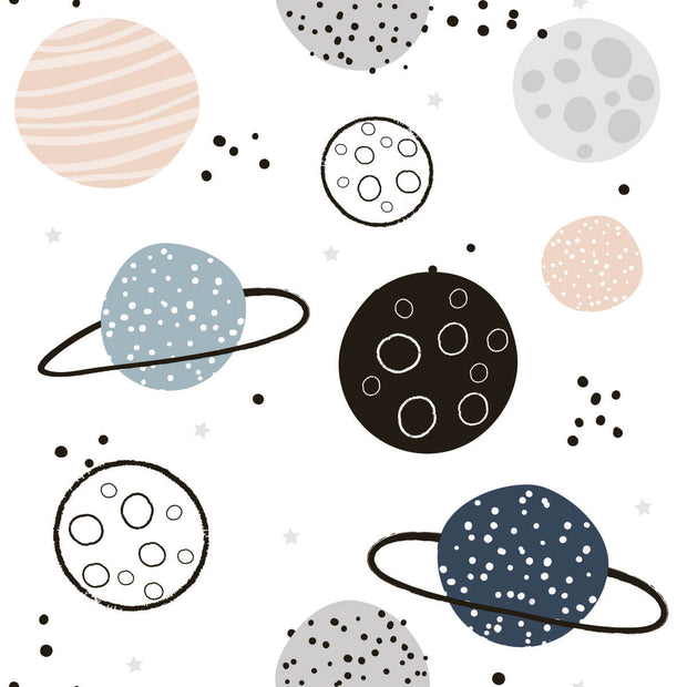 Planets Peel and Stick Wallpaper - Black/Peach
