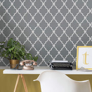 Modern Trellis Peel and Stick Wallpaper - Gray