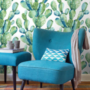 Prickly Pear Cactus Peel and Stick Wallpaper - Blue/Green