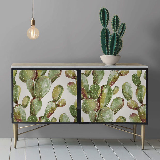 Prickly Pear Cactus Peel and Stick Wallpaper - Green/Brown
