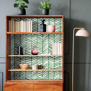 CatCoq Herringbone Peel and Stick Wallpaper - Green/White