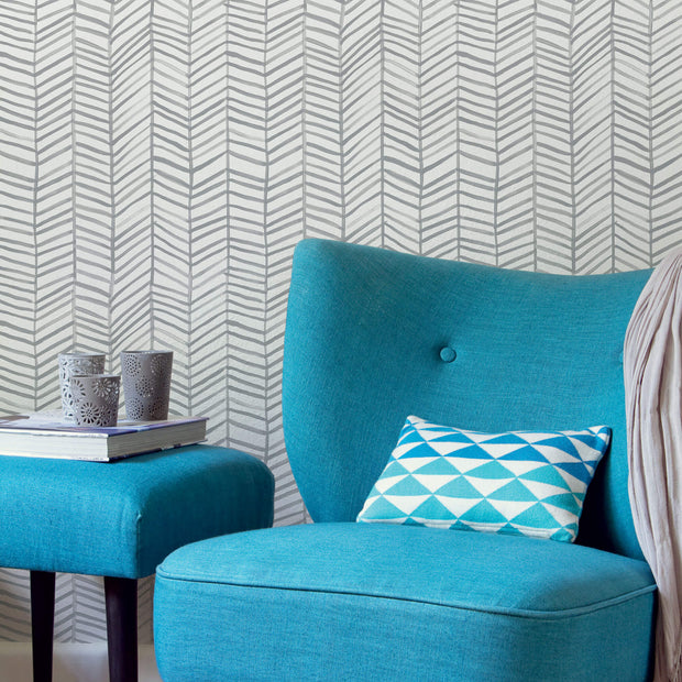 CatCoq Herringbone Peel and Stick Wallpaper - Gray/White