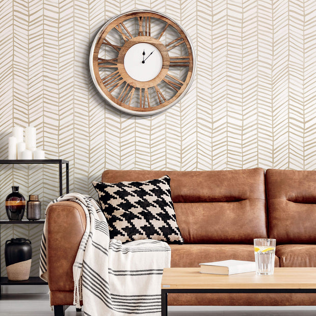CatCoq Herringbone Peel & Stick Wallpaper - Tan & White