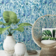 CatCoq Philodendron Peel and Stick Wallpaper - Blue