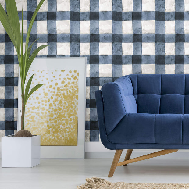 Buffalo Plaid Peel and Stick Wallpaper - Blue, White