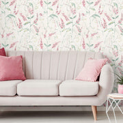 Floral Sprig Peel and Stick Wallpaper - Pink & White
