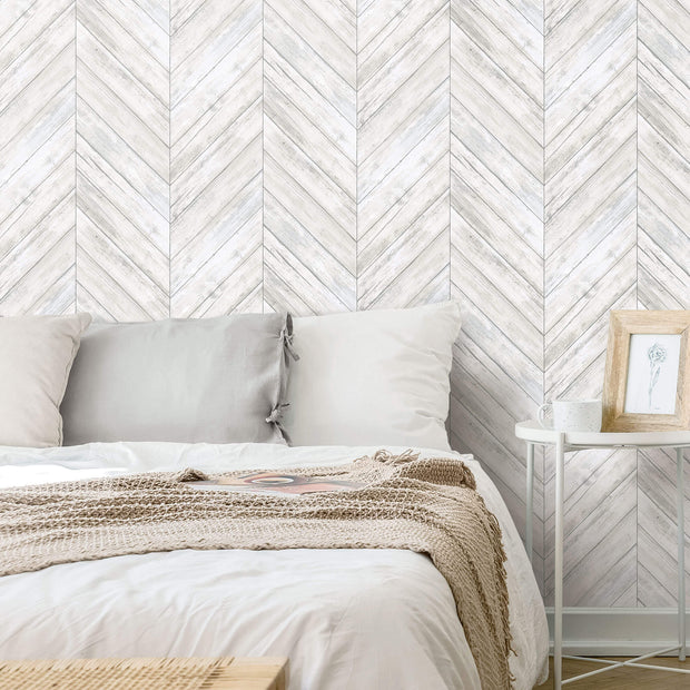 Herringbone Wood Boards Peel and Stick Wallpaper - White