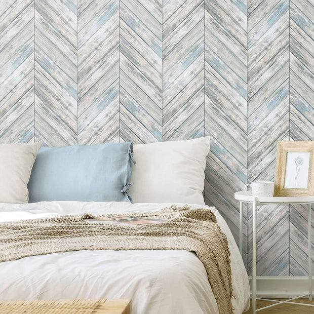 Herringbone Wood Boards Peel and Stick Wallpaper - Blue