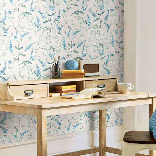 Floral Sprig Peel And Stick Wallpaper Blue White Us Wall Decor