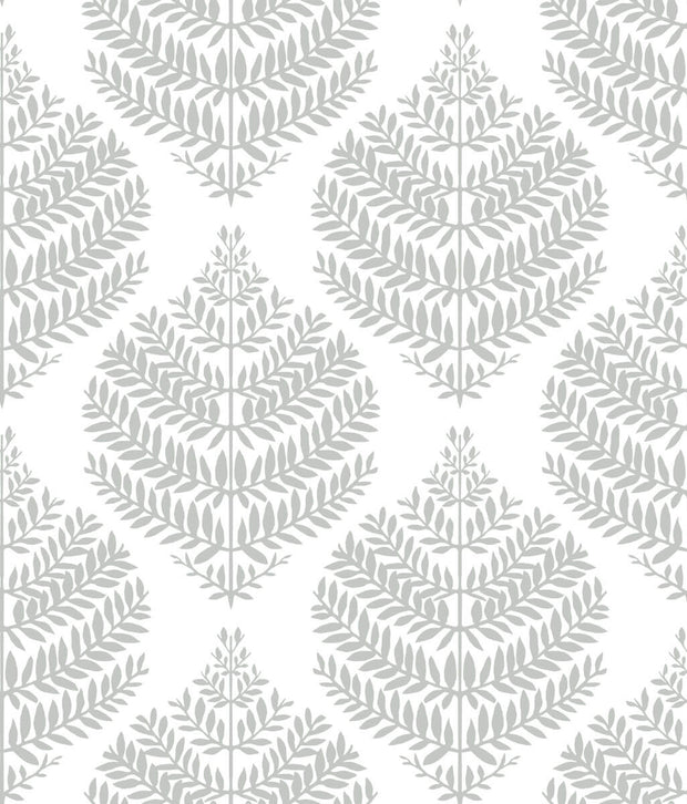 Hygge Fern Damask Peel and Stick Wallpaper - Gray & White
