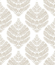 Hygge Fern Damask Peel and Stick Wallpaper - Taupe & White